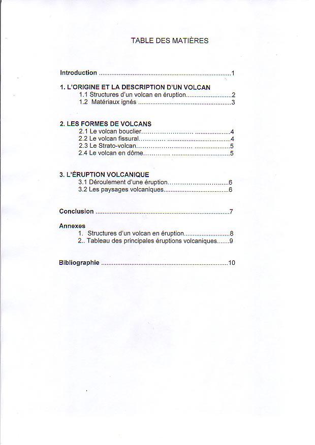Les 10 tapes d 39 un travail de recherche - Exemple table des matieres ...